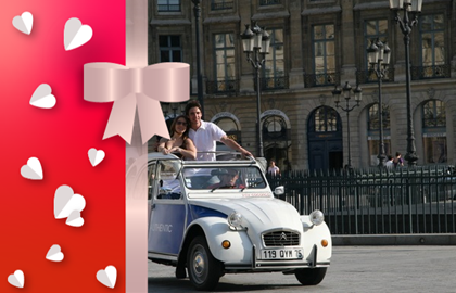 Gift voucher : romantic tour in a 2CV with champagne